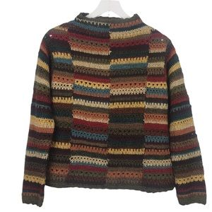 David Brooks Hand Knit Silk Blend Stripe Sweater